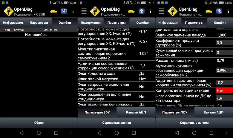 Вывод информации через приложение OpenDiag
